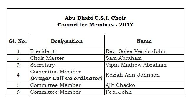 Choir Committee 2017