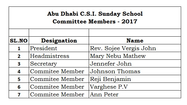Sunday School Committee 2017