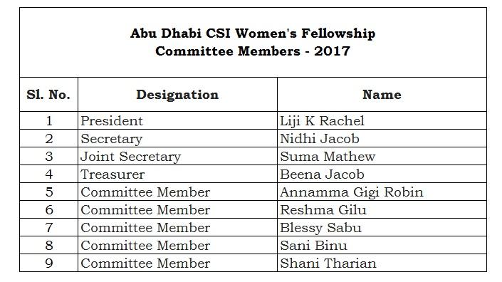 Womens Fellowship Committee 2017