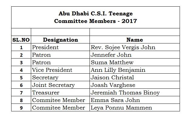 Teenage Committee 2017